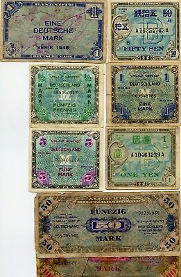 8 Pc. Allied Mpc Vintage Paper Money Collection!!!!..starts @ 2.99