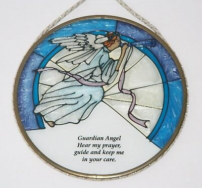 Stained Glass Guardian Angel Suncatcher - With Verse - 7""