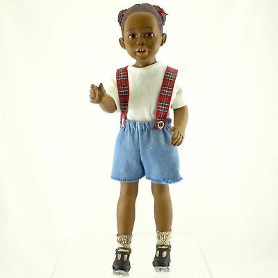 All Gods Children SKATING ANIKA Polyresin African American  Black Doll 2601
