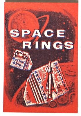 S386. Vintage: SPACE RINGS Red Vending Machine Paper Ad Piece (1960's) SCARCE ~~