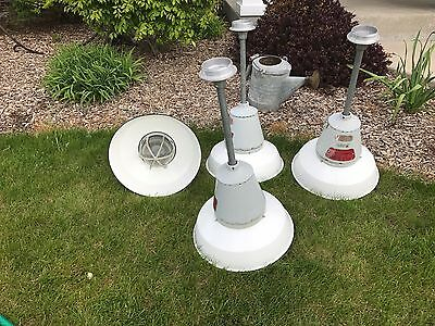 Vtg Set Of 4 Appleton Porcelain White Explosion Proof Lights Fixtures Hazardous