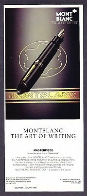 "1986 MontBlanc Masterpiece Pen photo ""The Art of Writing"" vintage promo print ad"