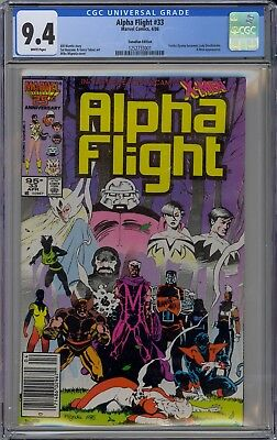 Alpha Flight #33 CGC 9.4 NM Wp 1st Lady Deathstrike 1986 Canadian Price Variant