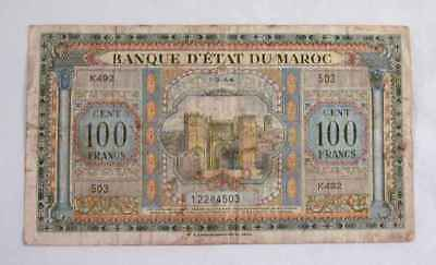1944 Currency Morocco 100 Francs Banknote P 27 Phila PA