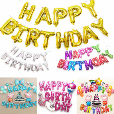 Self Inflating Happy Birthday Banner Foil Balloon Bunting Gold Silver Letters