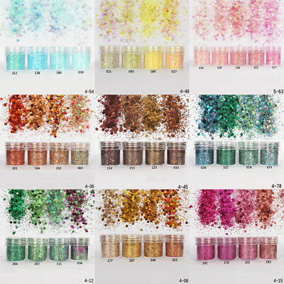 18Color Nail Art Glitter Powder Dust for UV Gel Acrylic Powder Sequin Decor Tips
