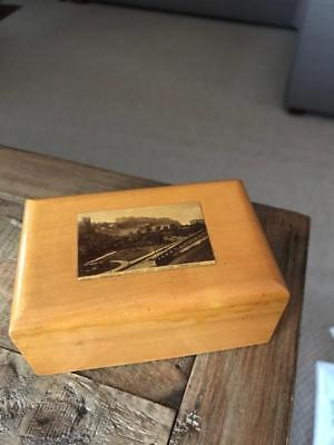 Antique Mauchline Ware Box. Vintage Treen Box. National Gallery Castle Edinburgh