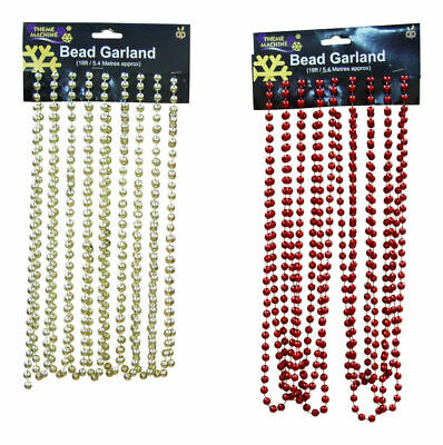 18ft / 5.4m Beaded Garland Christmas Decoration Red or Gold Beads Festive Season