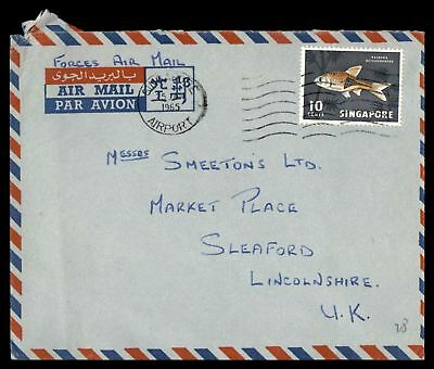 Singapore 1965 Postal History Jan 25 1965 Forces Air Mail Cover To Lincolnshire