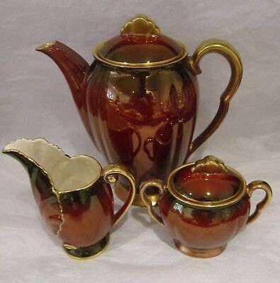Carlton Ware Rouge Royale Coffee Pot, Sugar Bowl & Cream Jug