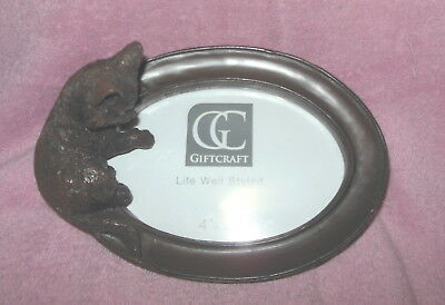Gorgeous Giftcraft Carved 3-D Cat Kitten Picture Photo Frame New