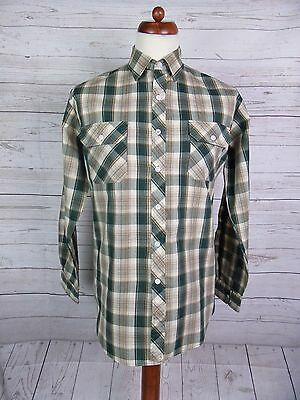 Mens Vtg L Sleeve Brown / Green Checked Shirt Indie Urban -M- DP67