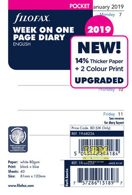 Filofax 2019 Pocket size Diary - Week On One Page Refill Insert l9-68226