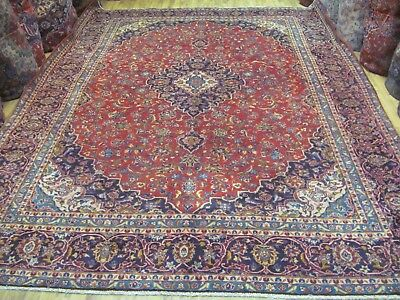 A WONDERFUL OLD HANDMADE KASHAN PERSIAN XL CARPET (397 x 296 cm)