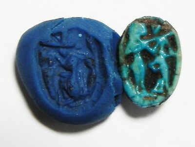 ZURQIEH - as3476- ANCIENT EGYPT.  FAIENCE SCARAB . NEW KINGDOM. 1400 B.C