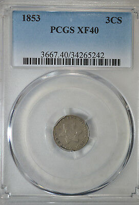 1853 3 cent silver, PCGS XF40