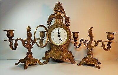 Vintage Imperial brass mantle clock w/two candelabras/ beautiful patina/ Italy
