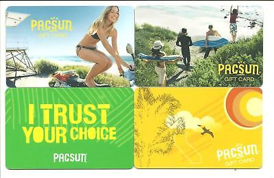 Lot of (4) PacSun Gift Cards No $ Value Collectible Beach Surf Girl