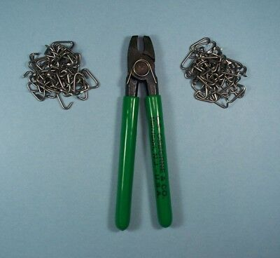 Hog Ring Pliers Straight Head + 100 Hog Rings By C.s.osborne Made In U.s.a.