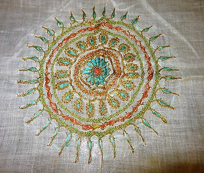 """Vtg WW11 sheer India tablecloth silk gold embroidered authentic India design 32"""""""