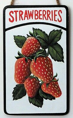 """STRAWBERRIES Wooden Country Kitchen Primitive STRAWBERRY Decor Sign 3x5.5"""""""