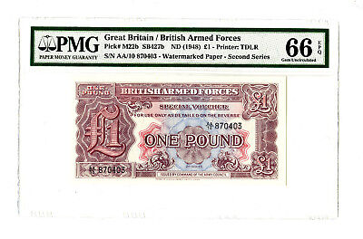 1948 1PD GREAT BRITAIN PMG 66 EPQ PICK# M22b WATERMARKED PAPER BANKNOTE PRE 'AA'