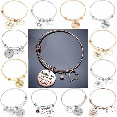 Charm Stainless Steel Adjustable Pearl Heart Round Letters Bangle Bracelet Gift