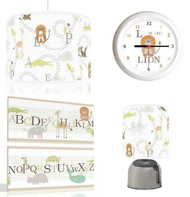 ALPHABET ANIMALS Baby Bundle Light shade, Touch Lamp, Clock, Canvas FREEP&P