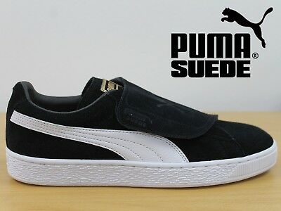 PUMA Suede Wrap Classic Men's Trainers Black Retro Leather Sneakers 36365303