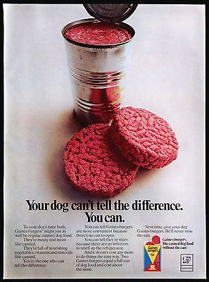 1971 Gaines-Burgers Dog Food Canned Dog Food Without The Can Magazine Print Ad