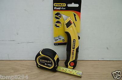 STANLEY 5M TYLON TAPE MEASURE 0 30 696 & FATMAX UTILITY KNIFE 0 10 778 no blades