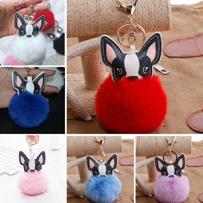 1 PC Cute Ball French Bulldog Key Ring Bag Accessories Rabbit Fur Ball Gifts