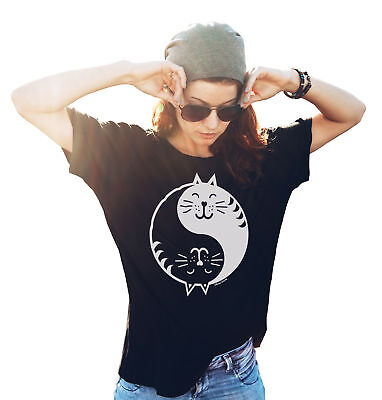 Ladies Funny CAT T-Shirt YIN YANG Crazy Cat Lady Lover GIFT Her Birthday Womens