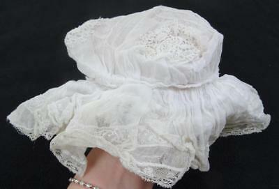 Antique Edwardian Mob Cap - Wired White Muslin & Lace Baby's c1910
