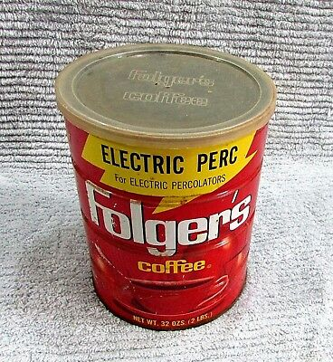 Vintage 1960's Empty Folgers 2 lb Electric Perc Empty Coffee Tin Old Can FREE SH