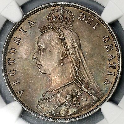 1887 NGC MS 63 Silver 1/2 Crown Toned GREAT BRITAIN Coin (18010702C)