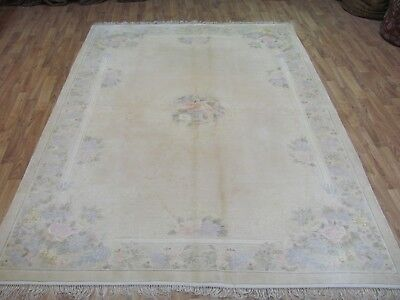 A BEAUTIFUL OLD HANDMADE CHINESE SILK ORIENTAL RUG (240 x 167 cm)