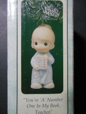 """Precious Moments Porcelain Ornament: """"You're 'A' Number One in My Book Teacher"""""""