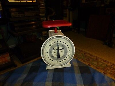 Vintage WAY-RITE 25 LBS HOUSEHOLD SCALE W/ Red & White Paint VG !
