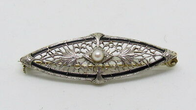 Antique Art Deco 14k Solid Yellow Gold Filigree Seed Pearl Brooch ~ Free Ship
