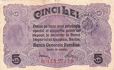5 Lei Vf Banknote From German Occupied Romania  1917!pick-M1 With Stamp