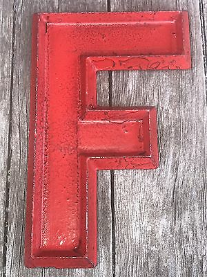 8'' Vintage Mid Century Adler Silhouette Red Cast Metal Marquee Sign Letter F