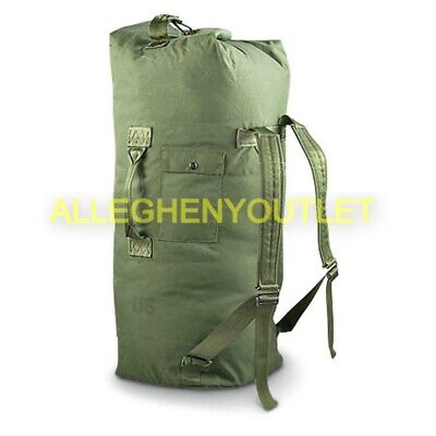 US Army OD Duffle Bag Nylon Duffel Sea Bag Military Back Pack EXCELLENT