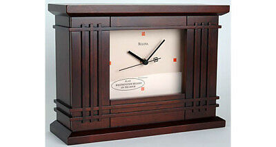 Bulova Frank Lloyd Wright Collection Martin Wood Clock  - Brown / AS IS