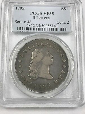 1795 Flowing Hair U.S Silver Dollar PCGS VF35 3 Leaves [141]