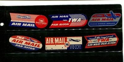 Vintage Airline Label AIRMAIL ETIQUETTE Lot of 6 TWA  AIRLINES all different