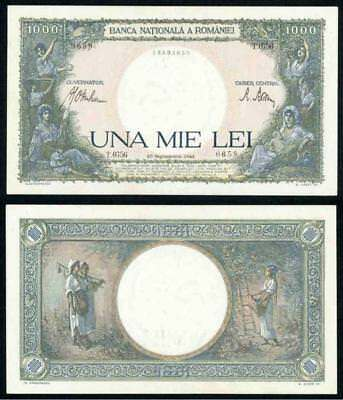 Currency 1941 Romania 1000 Lei Large Extremely Fine Banknote Pick# 52