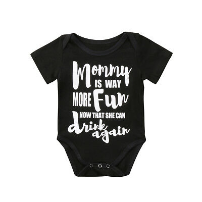 Newborn Kids Baby Boy Girl Blackl Funny Romper Casual Summer Clothes Outfit