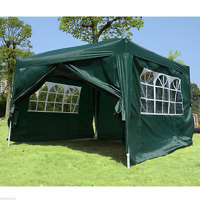 Outsunny 10 x 10' Pop Up Party Tent Gazebo Canopy w/ Removable Sidewalls Green