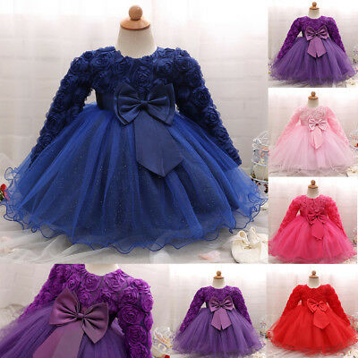 Flower Baby Girls Princess Bridesmaid Pageant Gown Birthday Party Wedding Dress